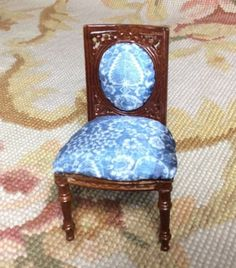 """Bespaq/Pat Tyler Artist Made Handcrafted OOAK New Walnut Chair is upholstered in Blue and White Silk fabric I have printed to scale. The Chair measures approximately 1 2/4"""" Wide, 3 1/4"""" Tall, and 1 1/"""
