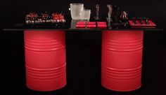 Colorful oil drums table...I wanna do this!