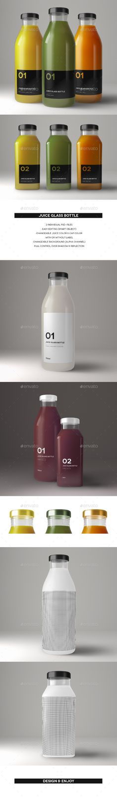 Juice Glass Bottle by VDlab 2 PSD-Files (layered) Easy Editing (Smart Object) Example Files Manual included Changeable Juice Color Changeable Cap Color Juice Logo, Juice Branding, Juice Packaging, Beverage Packaging, Bottle Packaging, Bottle Mockup, Brand Packaging, Bottle Labels, Packaging Design