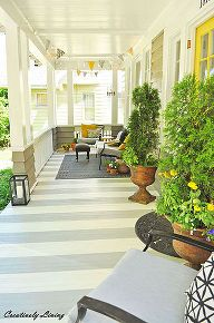 porch stripes painting diy, decks patios porches, exterior finishings, painting