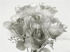 84 Organza Rose Buds - Silver | eFavorMart