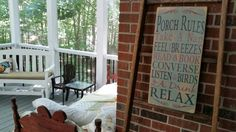 Turned my screened porch into a sleeping porch so I could follow Porch Rule #1: Take a nap! I love my sign from Mockingbird Primitive on Etsy.