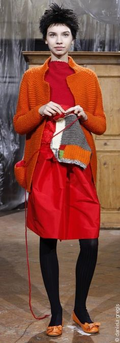Daniela Gregis (Italy) _ f/w 2012 // orange cardigan and red dress Only Cardigan, Dress With Cardigan, Orange Cardigan, Italian Fashion Designers, Couture, Knit Fashion, Pulls, Dressmaking, Mantel