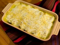Enchiladas Suizas from Marcela Valladolid, 5 of 5 Stars, 3 Reviews @ Food Network. Note: Per Marcela, can roast the tomatillos, onions and chiles vs boiling. Uses Mexican crema, heavy cream and Oaxaca or mozzarella cheese.