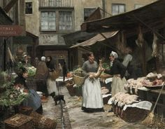 "Victor Gabriel Gilbert (French 1847 - 1933) ""Market Day"""