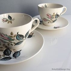J&G Meakin Sol cup and saucer duos Nightclub rose buds Nightclub, Rose Buds, Cup And Saucer, Tea Cups, Delicate, Tableware, Floral, How To Make, Pattern
