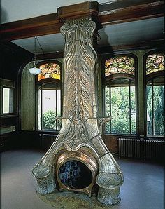 Art nouveau fireplace - Villa Majorelle, Nancy, France