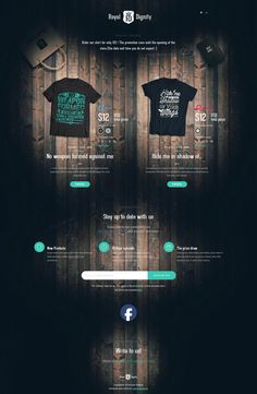 Landing page for a set of tees under the 'Royal Dignity' brand. Nice touch with the Holy Bible quote switcher and come to think of it, I haven't seen a good looking one pager against a wood background in a while.
