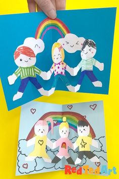 Red Ted Art's Easy Pop Up Friendship Card! These Friendship Cards are super easy to make and a great for Birthdays too! Learn how today! Paper Crafts For Kids, Easy Crafts For Kids, Toddler Crafts, Preschool Crafts, Art For Kids, Kids Fun, 3d Birthday Card, Handmade Birthday Cards, Paper Doll Chain
