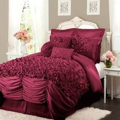 4-Piece Talia Comforter Set in Raspberry