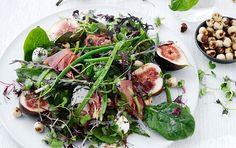 Salat af bønner, figner & mozzarella Seaweed Salad, Fresh Rolls, Mozzarella, Green Beans, Protein, Vegetarian, Yummy Food, Chicken, Vegetables