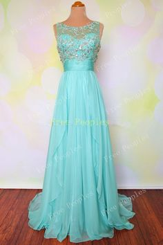 Cheap A line Custom Made Seafoam Long Prom Dresses by FreePeoples, $219.99