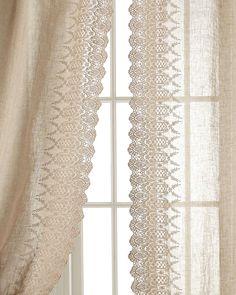 """Each 42""""W x 96""""L Annabelle Lace-Edged Curtain"""