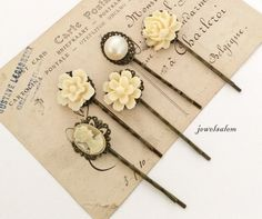 Ivory Hair Pins Cream Floral Bridal Bobbly Pins Set of 5 for Bridemaids Pearl Flower Hair Slide Vintage Style Bride Flower Girl Victorian