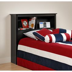 Bedroom, Cool Blue Red Striped Bedding Set With Black Bed Headboard Storage Also Cream Wall Paint Color Background ~ Charming Bed Headboard Design Ideas Bed Headboard Storage, Bookshelf Headboard, Bed Headboard Design, Black Headboard, Twin Headboard, Headboards For Beds, Bed Design, Headboard Ideas, Bedroom Ideas