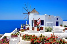 Windmill in Santorini, Greece Wall Mural | Eazywallz