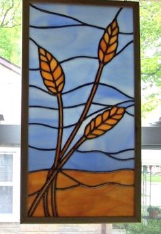 Wheat in the air Stained Glass by Ceil Jane