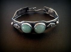 Green Aventurine and agate stones sterling silver cuff retro antique boho gypsy antique style in solid sterling silver -made to order on Etsy, $118.78