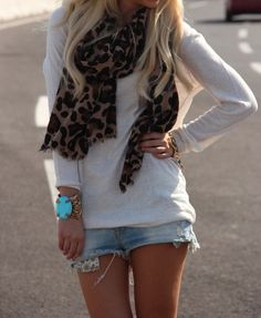 Oversized shirt, jean shorts, leopard scarf
