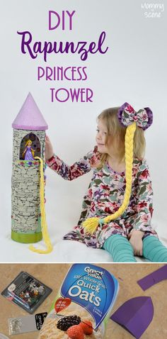 Easy DIY Rapunzel princess tower made from recycled food containers - fun kids' craft