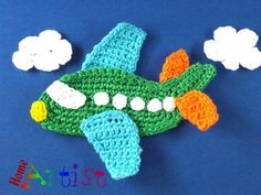 "Crochet Applique airplane ~ measures 4.5""T x 3""W ~ THIS IS A FINISHED item to purchase ~ choice of colours"
