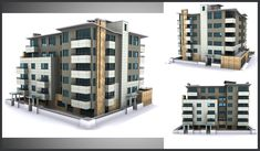 Architectural presentation of a building, used in a web presentation; user was able to rotate, choose between different apartments and receiving the floor plan.