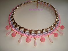 Necklace chain in shades of pink with glass beads  https://www.facebook.com/pages/Handmade-Creations-by-Efi/187659788043676