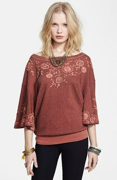 Free People 'Fairy' Embroidered Bell Sleeve Pullover available at #Nordstrom