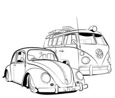 Hippie campers drawing vw bus Ideas for 2019 Volkswagen Vintage, Vw Vintage, Volkswagen Bus, Vw T1, Vw Camper, Kombi Hippie, Vw Tattoo, Jetta A4, Camper Drawing