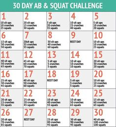 30 Day Abs and Squat Challenge – 30 Day Fitness Challenges