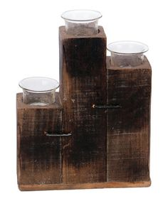 Another great find on #zulily! Three-Tealight Wood Candleholder #zulilyfinds