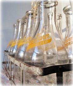 8 Vintage Glass Milk Bottles with Galvanized by Angieswhimsynook, $125.00