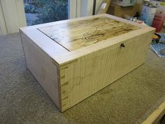 Book matched Spalted Maple Frame & Panel Lid with Bridle Joint. Dovetail Box, Spalted Maple, Blanket Chest, Joinery, Houndstooth, Storage Chest, Jewelry Box, David, Book