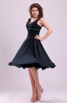 Peacoat Bridesmaid Dress - Cute A-line Sleeveless Chiffon Knee Length Ruching