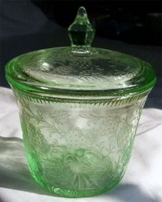 Pattern: Strawberry            Manufacturer: US Glass Company            Dates Manufactured: Early 1930s