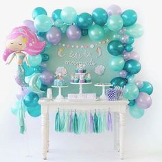 Amazing Ideas for a Beautiful Mermaid Birthday Party! Style a beautiful under the sea birthday with gorgeous mermaid party ideas. These mermaid party food ideas Mermaid Theme Birthday, Little Mermaid Birthday, Little Mermaid Parties, Birthday Diy, Mermaid Birthday Decorations, Birthday Table, Birthday Ideas For Kids, Cake Birthday, Mermaid Themed Party