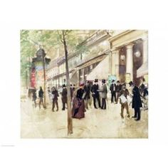 Posterazzi The Boulevard Montmartre and the Theatre des Varietes Canvas Art - Jean Beraud (36 x 24)