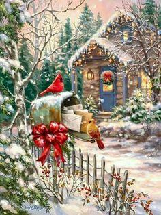 Cardinals at the Mailbox - Boxed Christmas Cards Boxed Christmas Cards, Noel Christmas, Christmas Printables, Winter Christmas, Christmas Crafts, Christmas Decorations, Xmas, Holiday Cards, Illustration Noel