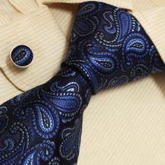 Blue, cufflinks, men, navy, neckties, paisleys, silk