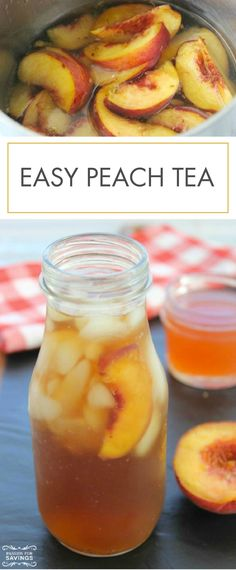 This Easy Peach Tea is the perfect drink recipe for grilling out on sunny days with friends! It's so refreshing, and you will love the chunks of fresh fruit.