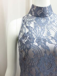 Love this Shanghai Jasmine lace dress in elegant powder grey blue French Lace. Modern and feminine.
