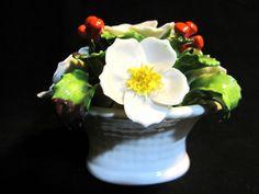 VTG Aynsley Encrusted Flowers Bone China December Christmas Rose Bouquet  #Aynsley