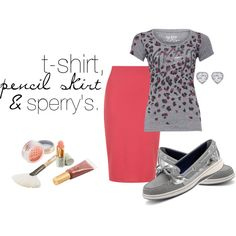 """""""t-shirt, pencil skirt & sperry's"""" by blessedgirl on Polyvore"""