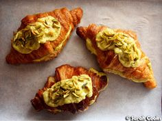 Buttery croissants are filled and topped with a luscious, vibrantly green, pistachio mixture, then baked until golden. Almond Croissant, Croissant Recipe, Croissants, Tray Bakes, Pistachio, Baked Goods, Oven, Sweet Treats, Baking