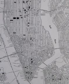 1942 Antique MANHATTAN MAP New York City Map Black And White 3413