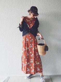 花柄ワンピースはkormarchさんよりご提供頂きました♡ 秋にぴったりなブラウンをセレクト! サイ
