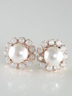Bridal earrings White pearl opal