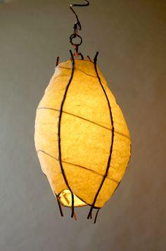 Large Pod Pendant Wisteria Vines Handmade Japanese Paper