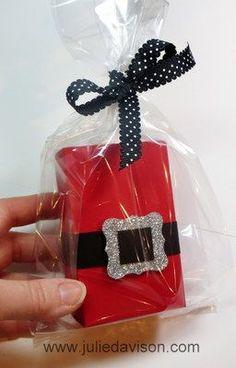 Santa Half Sheet Treat Box + Tutorial & Template #christmas #stampinup www.juliedavison.com