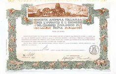 S.A. Italiana per l'Impianto e l'Esercizio del Giardino Zoologico in Roma Azione 100 Lire März 1909. Gründeraktie.